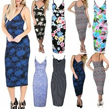 New Womens Ladies Sleeveless Printed Floral Wrap Over Strappy Bodycon Midi Dress