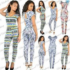 Womens Ladies Celeb Floral Cap Sleeve Keyhole All In One Piece Playsuit Jumpsuit