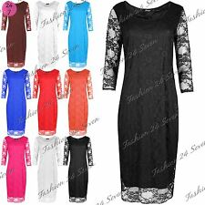 Womens Ladies Casual 3/4 Sleeves Full Lace Crew Neck Cocktail Bodycon Midi Dress