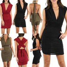 Womens Sleeveless Wrap Over Twist Strappy Low Back Ruched Multi Way Mini Dress