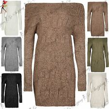Womens Ladies Off the Shoulder Cable Chunky Knit Bodycon Long Tunic Jumper Dress