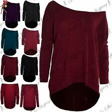Ladies Womens One Off Shoulder Jumper Knit Bardot Layering Baggy Lagenlook Top