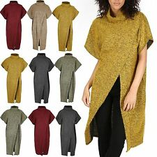 Womens Ladies Wrap Polo Crawl Neck Cross Over Poncho Knitwear One Size Jumper
