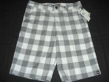 SIZE 29 18 YOUTH BOYS QUIKSILVER WHITE GRAY PLAID SHORTS NWT