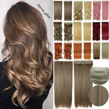 US Extra Long 100% Natural Extensions Clip IN HAIR EXTENTIONS 3/4 Full Head 3HF