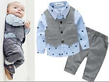 2pcs Toddler Baby Boys Kids Waistcoat +Shirt+Pants Clothes Outfits Gentleman Set