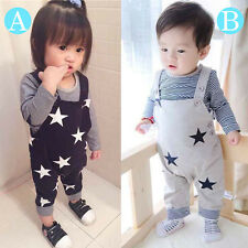2PCS Newborn Baby Boys Girls Striped Tops+Romper Jumpsuit Kids Bodysuit Outfits