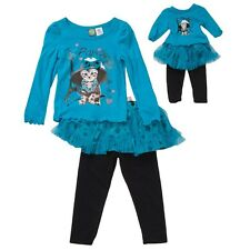 "Girl and Doll Matching Outfit Blue Leggings Set Dollie & Me American 18"" Dolls"