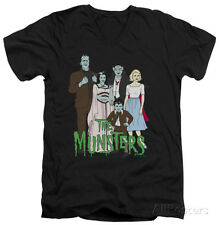The Munsters - The Family V-Neck Apparel T-Shirt - Black
