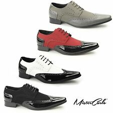 Mister Carlo ARTISTA Mens Pointed Faux Suede Leather/Patent Funky Gangster Shoes