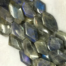 Natural Genuine Gray Blue Labradorite Hand Cut Faceted Nugget Free Form Beads