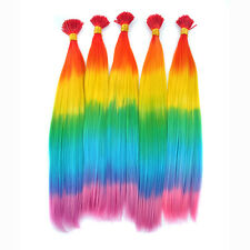 40cm Rainbow Colors Synthetic Grizzly Feather Hair Extensions Lot With Fee Beads