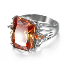 Angel's Wing Design Natural Champange Topaz Gems Silver Lady Rings Size 7 8 9