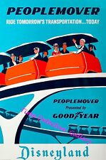 Vintage People Mover Monorail Disneyland Poster - Available in 3 Sizes