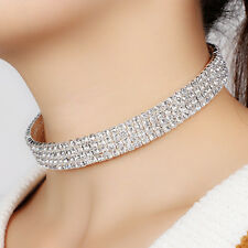 Wedding Party Prom Clear Crystal Diamond Rhinestone Choker Chain Necklace Gift
