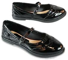 WOMENS LADIES FLAT MARY JANE STYLE SLIP ON BUCKLE WORK BROGUE SHOES PUMPS SIZE