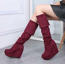 Womens Winter Over the Knee High Boots Faux Suede Wedge Heel Platform Boots Sz@@