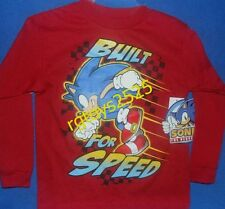 Sonic The Hedgehog Long Sleeve t-shirt 4-5 XS 18 XXL New Childs Built for Speed