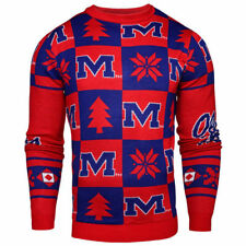 Ole Miss Rebels Patches Ugly Pullover Sweater - Navy - NCAA
