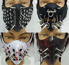 NTEM101~3 Silver-Metal Spikes Soft Faux Leather Face Mask Cosplay Biker Costume