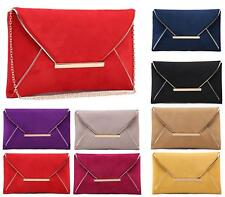 WOMENS FAUX SUEDE FLAT ENVELOPE PROM PARTY EVENING OCCASION CLUTCH BAG