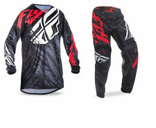 NEW 2017 FLY RACING YOUTH KIDS KINETIC RELAPSE BLACK RED MX JERSEY + PANTS COMBO