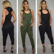 New Womens Hooded Romper High Waist Pencil Harem Pants Evening Party Jumpsuit