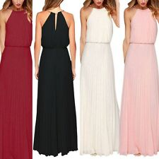 Women Fashion Sleeveless Chiffon Formal Gown Boho Maxi Pleated Party Long Dress
