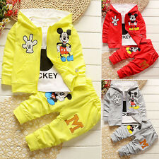 3pcs Kid Baby Boy Girl Mickey Coat+T-shirt+Pants Set Clothes Casual Outfits Suit
