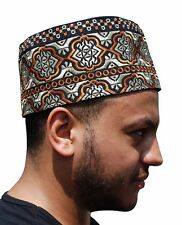Tall Omani Arab Style African Kufi Hat Black Base Orange and Gold Embroidery