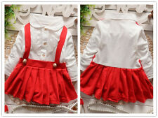 Toddler Baby kids girls long sleeve dress autumn clothes fake two-piece dress