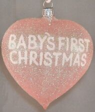 Baby's First Christmas Heart German Glass Christmas Ornament