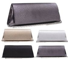 NEW WOMENS LADIES METALLIC RUCHED BRIDAL PARTY EVENING PROM ENVELOPE CLUTCH BAG