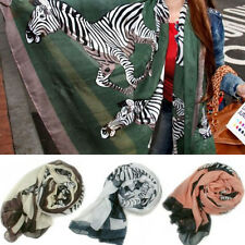 Punk Women Girls Zebra Animal Print Scarf Shawl Neck Cappa Wrap Stole Pashmina