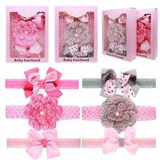3pcs/set Baby Princess Lace Headbands with Gift Box Girls Bow Flower Hairbands