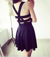 Women Ladies Sexy Hollow Out Backless Strap Skirt Mini Dress Party Nightclub