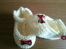 Hand Knitted Cream with tartan bow Baby Shoes 0-3 , 3-6 or Reborn