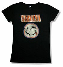 Nirvana Smile Distressed Face Image Girls Juniors Black T Shirt New Official
