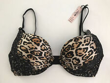 NWT VICTORIA'S SECRET Leopard/Lace Bombshell Add-2-Cups Push-Up Plunge Bra