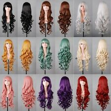 UK Girls Curly Straight Long FuLL Wig Francy Party Cospaly Black Blonde Pink Wig