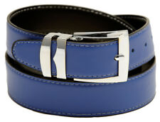Reversible Belt Wide ROYAL BLUE / Black with White Stitching Silver-Tone Buckle