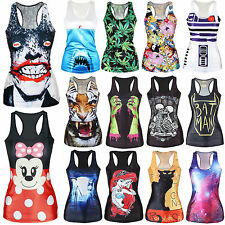 Womens Printed Tank Top Gothic Punk Vest Blouse Singlet Racerback T-Shirts Shirt