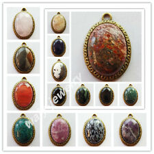 Wholesale!Beautiful Bronze Inlay Mixed Gemstone Oval Pendant Bead ZLX-42