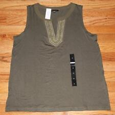 NEW NWT Womens Banana Republic Embroidered V-Neck Sleeveless Top $39 Olive *4F