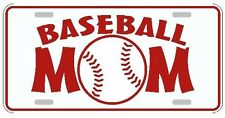 Baseball Mom license plate white with red lettering sports tag