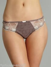 FANTASIE ELODIE THONG TAUPE SIZE M 12 14 KNICKERS 2187 BROWN WHITE NEW