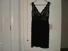 Sale! SL Fashions Elegant Black Layers Lace Sequins  Lined Dress size 4, New