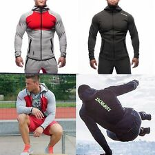 Mens Workout Muscle Brothers Sports Long Jacket Pants Running Coat Hooded Suit
