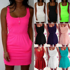 Summer Women Casual Sleeveless Evening Party Mini Dress Sexy Lady Beach Sundress