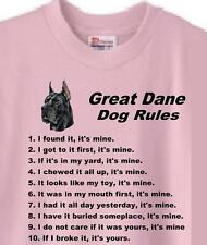 Dog T Shirt - Great Dane Dog Rules Men Women Adopt Rescue Animal Friend Pet # 31
